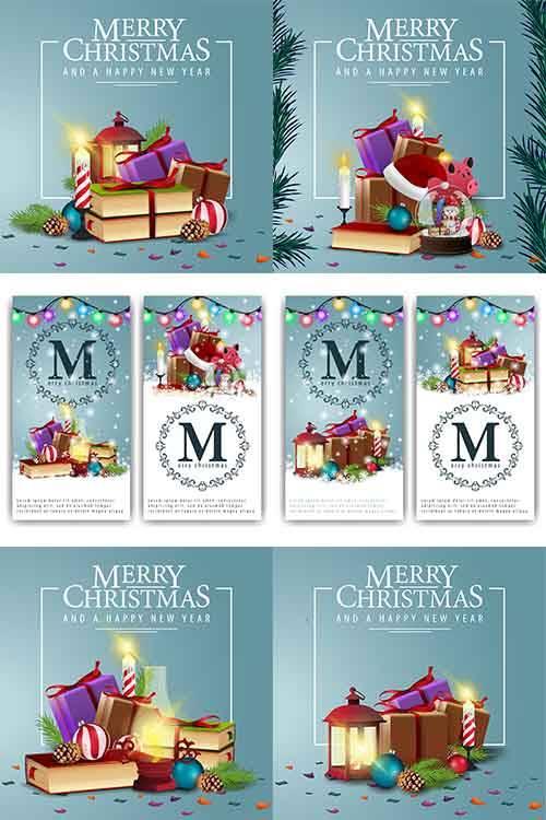 Новогодние открытки - 6 - Векторный клипарт / Christmas cards - 6 - Vector  ...