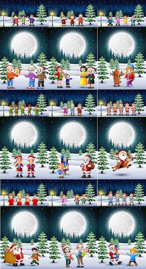 Зимние забавы - 6 - Векторный клипарт / Winter fun - 6 - Vector Graphics