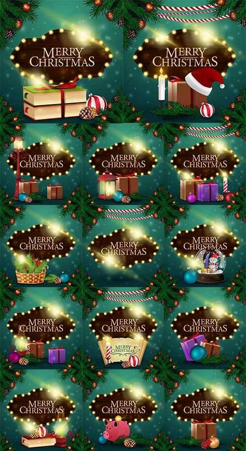 Новогодние открытки - 9 - Векторный клипарт / Christmas cards - 9 - Vector  ...