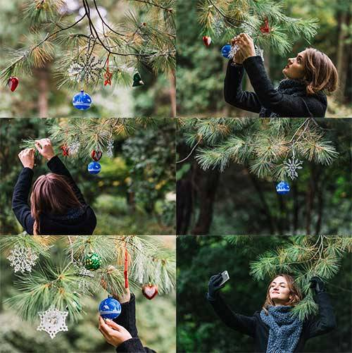 Девушка у ёлки - Растровый клипарт / Girl at the Christmas Tree - Raster cl ...