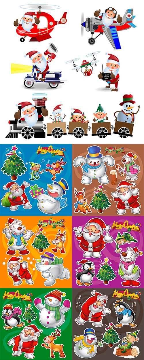 Новогодние персонажи - 2 - Векторный клипарт / Christmas characters - 2 - V ...