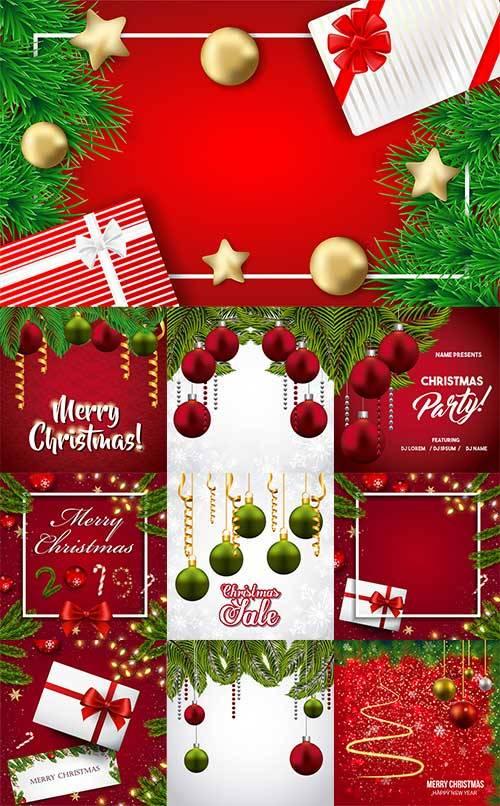 Новогодние фоны - 15 - Векторный клипарт / Christmas backgrounds -15 - Vect ...