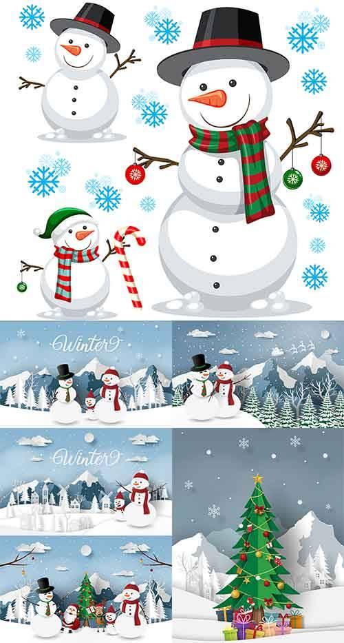 Снеговик - Векторный клипарт / Snowman - Vector Graphics