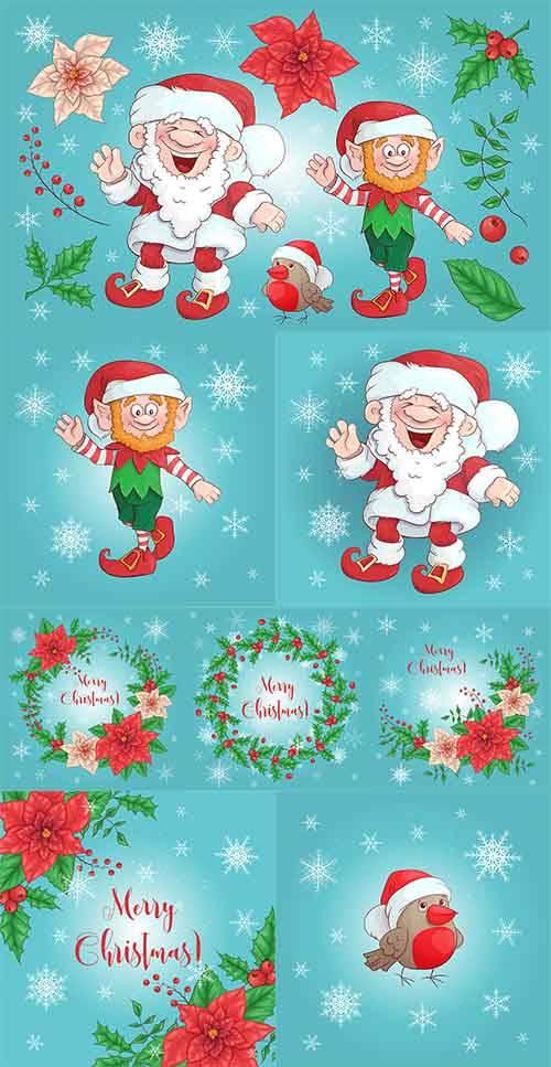 Новогодние фоны - 19 - Векторный клипарт / Christmas backgrounds -19 - Vect ...