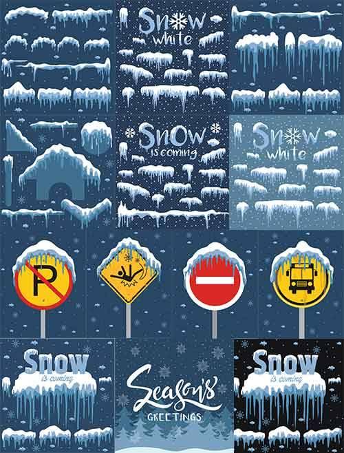 Снег и сугробы - Векторный клипарт / Snow and snowdrifts - Vector Graphics