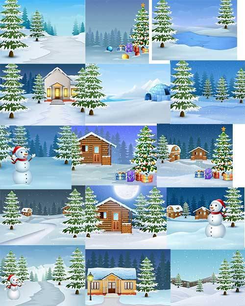 Зимние пейзажи - Векторный клипарт / Winter landscapes - vector clipart