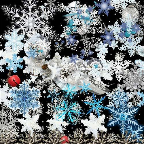Морозные узоры, разные снежинки - клипарт для фотошопа
