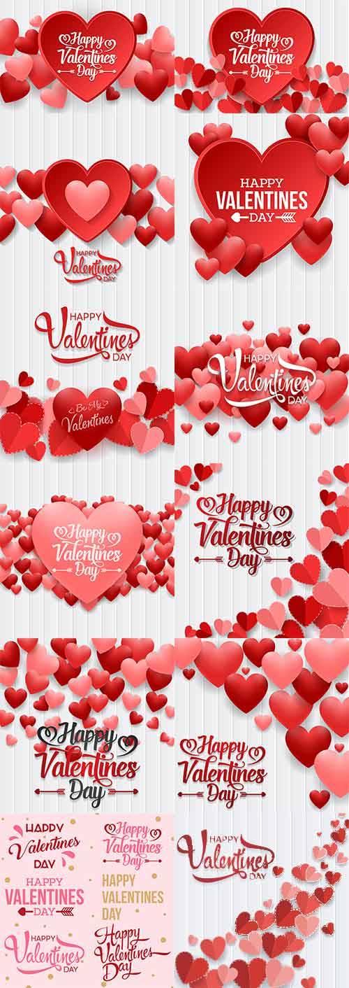 Романтические фоны с сердцами - 2 - Векторный клипарт / Romantic heart back ...