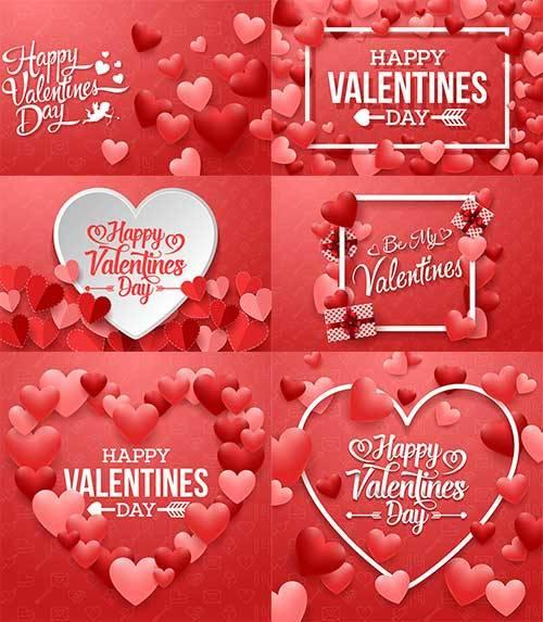 Романтические фоны с сердцами - 3 - Векторный клипарт / Romantic heart back ...