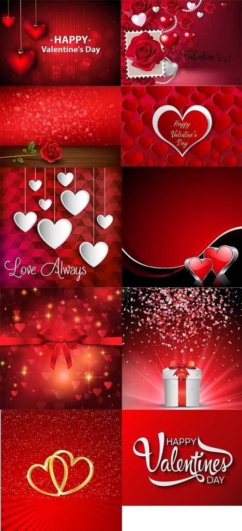 Романтические фоны с сердцами - 5 - Векторный клипарт / Romantic heart back ...
