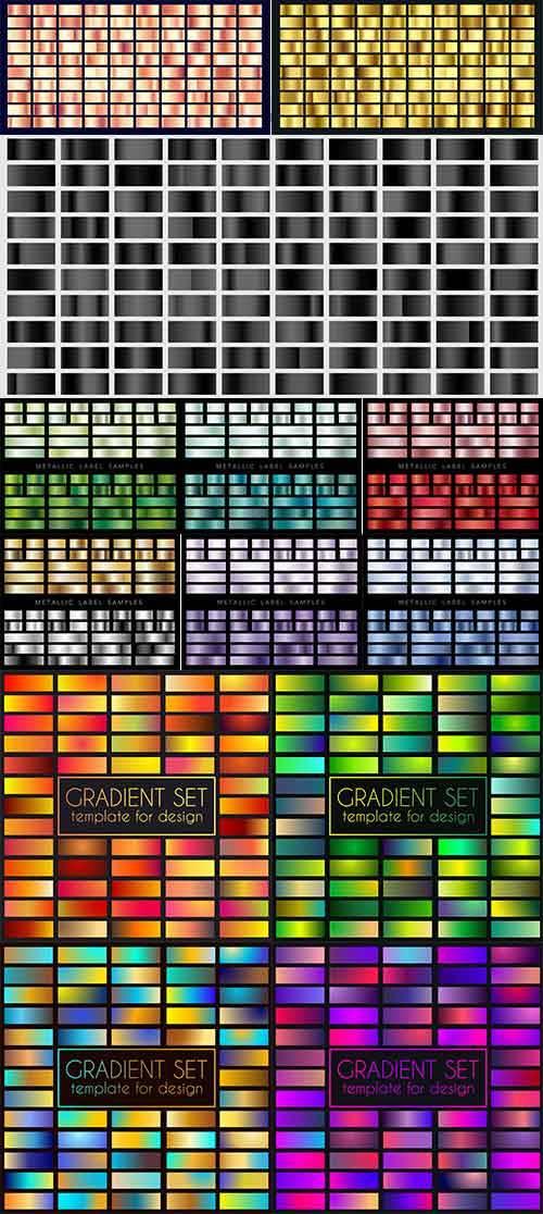Набор разноцветных градиентов в векторе / Set of multicolored gradients in  ...