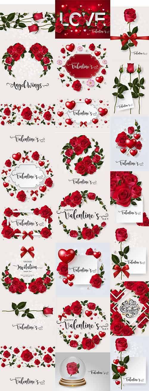 Романтические фоны с розами - 2 - Векторный клипарт / Romantic backgrounds  ...