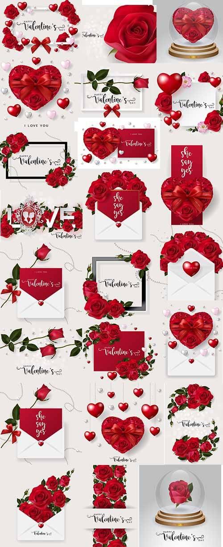 Романтические фоны с розами - 3 - Векторный клипарт / Romantic backgrounds  ...
