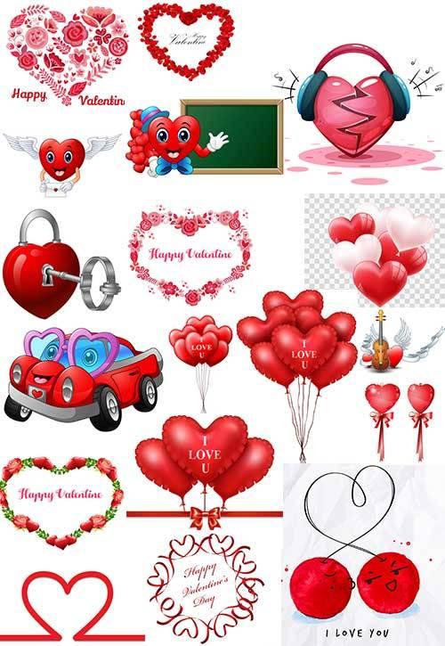Сердца влюблённых - Векторный клипарт / Hearts of lovers - Vector Graphics