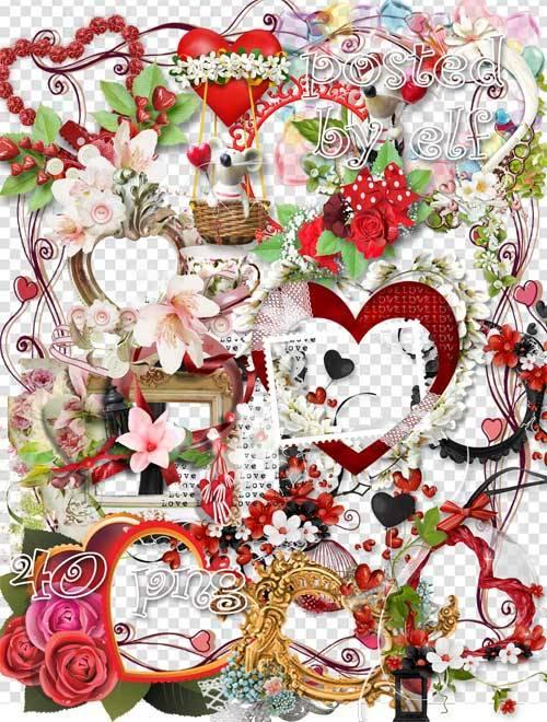 Рамки с сердечками - клипарт на прозрачном фоне