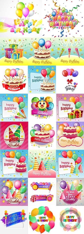 С Днём Рождения - Векторный клипарт / Happy Birthday - Vector Graphics