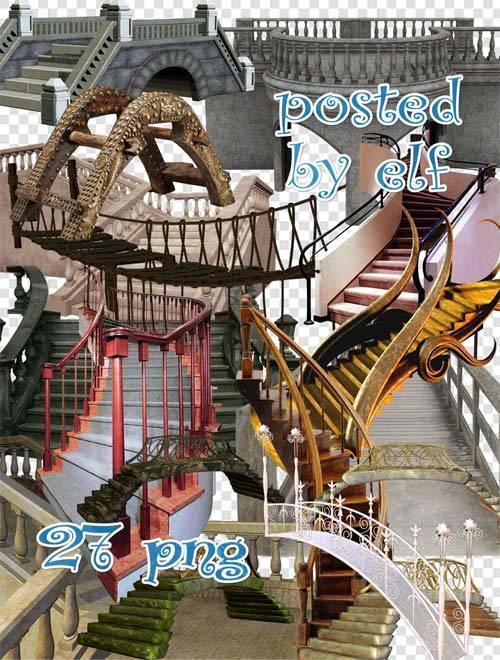 Лестницы и мосты на прозрачном фоне