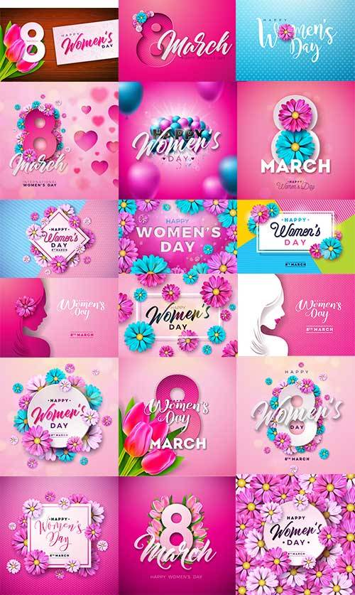 Женский день 8 марта - Векторный клипарт. 11 часть / Happy Women-s Day - Ve ...