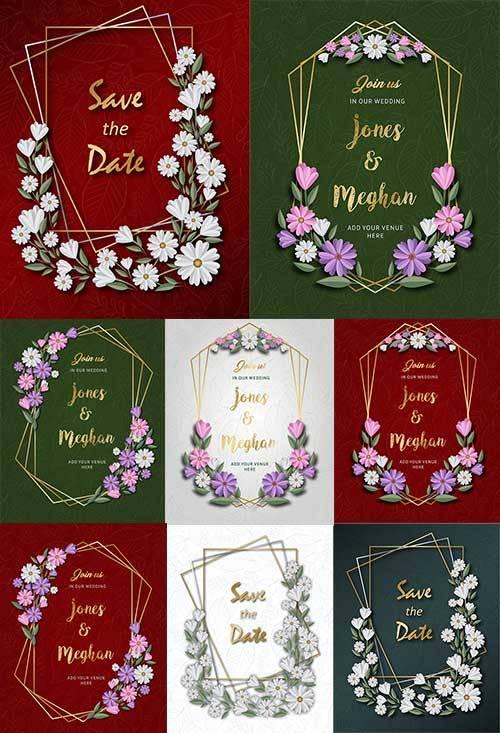 Открытки с цветами - Векторный клипарт / Cards with flowers - Vector Graphi ...