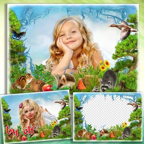 Детская фоторамка с лесными зверятами