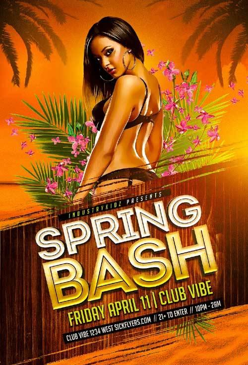 Spring Bash psd flyer template