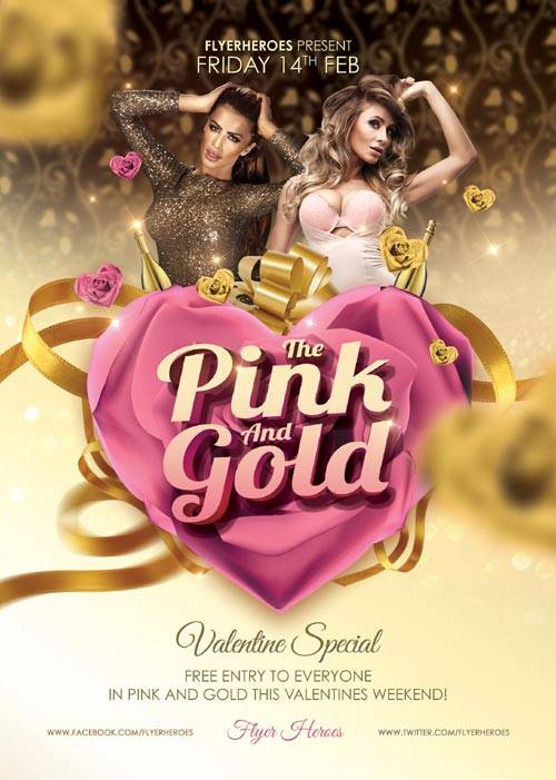 Pink and Gold psd flyer template
