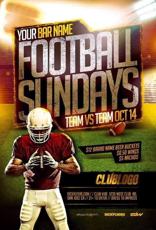 Football Sundays psd flyer template