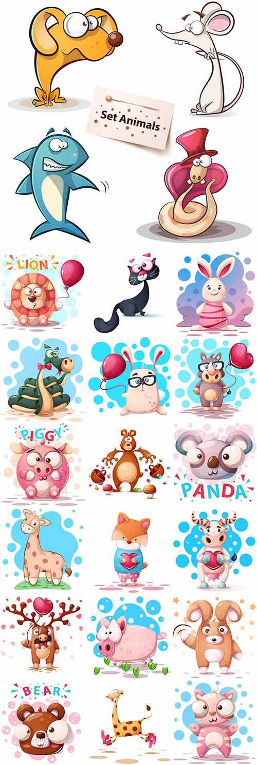 Милые зверюшки - Векторный клипарт / Cute little animals - Vector Graphics