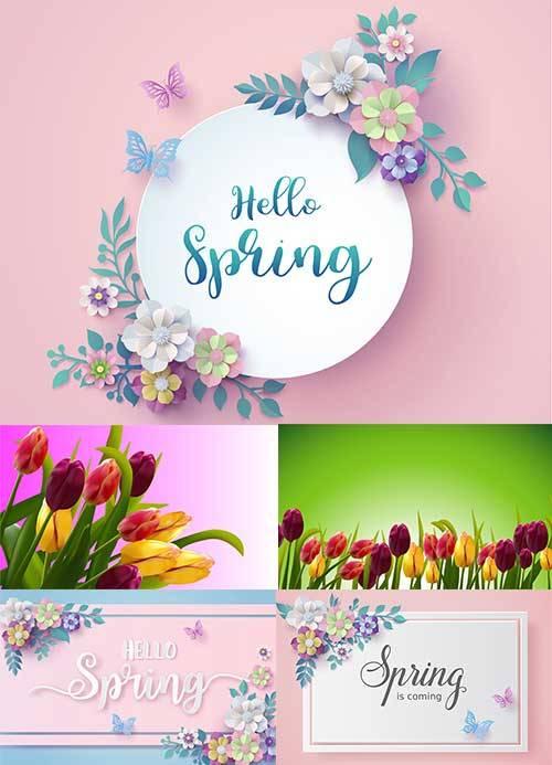 Здравствуй, весна - 16 - Векторный клипарт / Hello Spring - 16 - Vector Gra ...