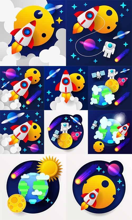Путешествие в космос - Векторный клипарт / Travel in space - Vector Graphic ...
