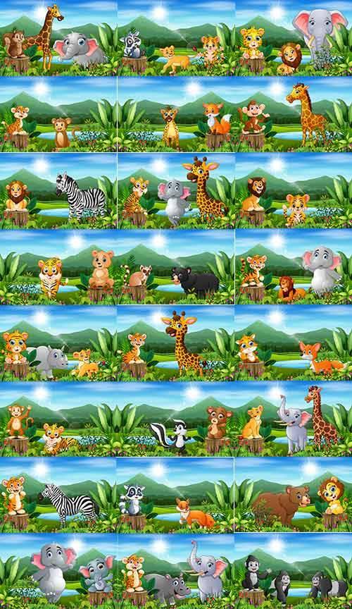 Зверюшки на природе- Детский векторный клипарт / Little animals in nature-  ...