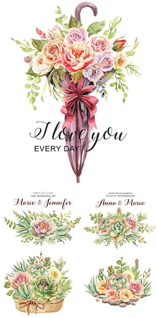 Весенние цветы - Векторный клипарт / Spring Flowers - Vector Graphics