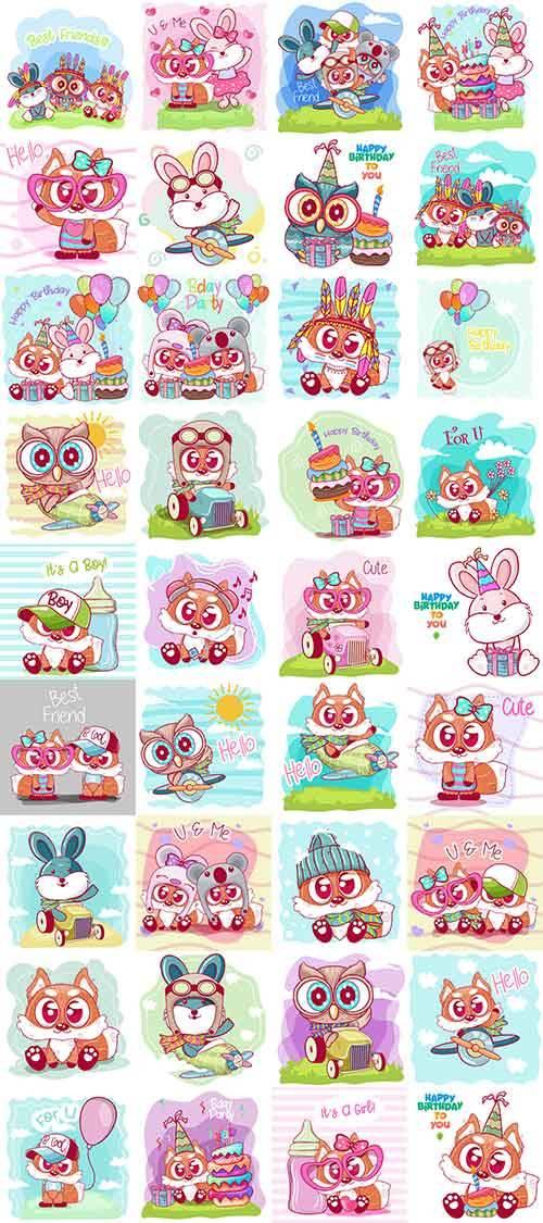 Симпатичные зверюшки в векторе / Cute little animals in vector