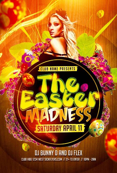 Easter Madness Party psd flyer template