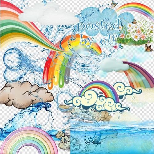PNG клипарт - Вода, радуга, облака