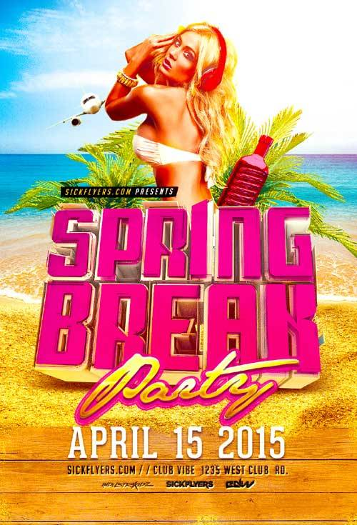 Spring Break Party psd flyer template