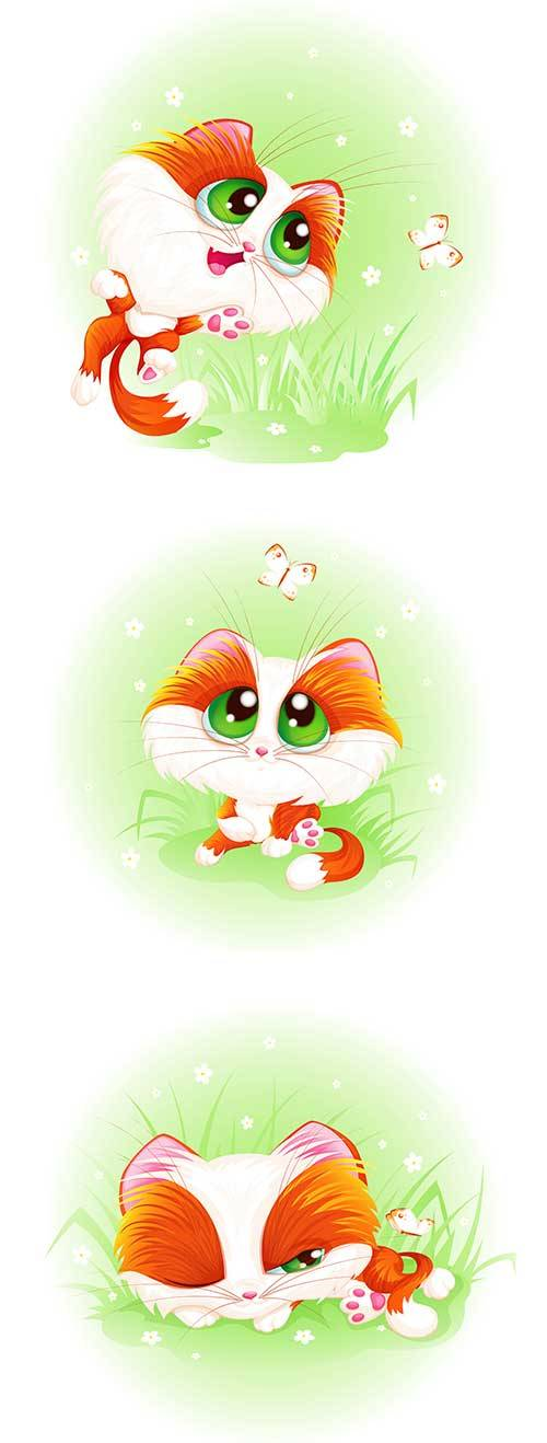 Милый котёнок - Векторный клипарт / Cute kitten - Vector Graphics