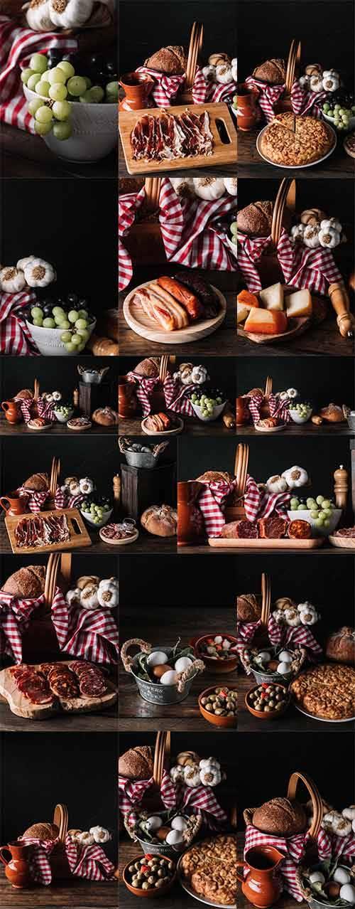 Хлеб, копчённости и фрукты - Растровый клипарт / Bread, Smoked Meat and Fru ...