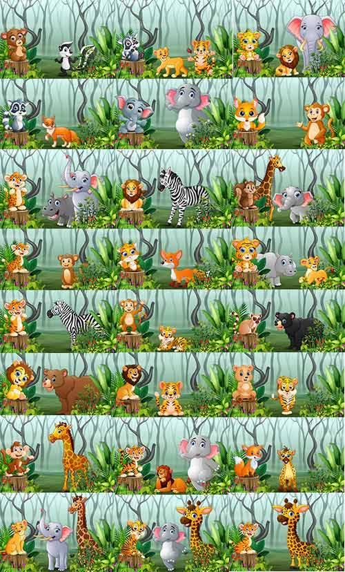 Звери в джунглях - Векторный клипарт / Beasts in jungle - Vector Graphics