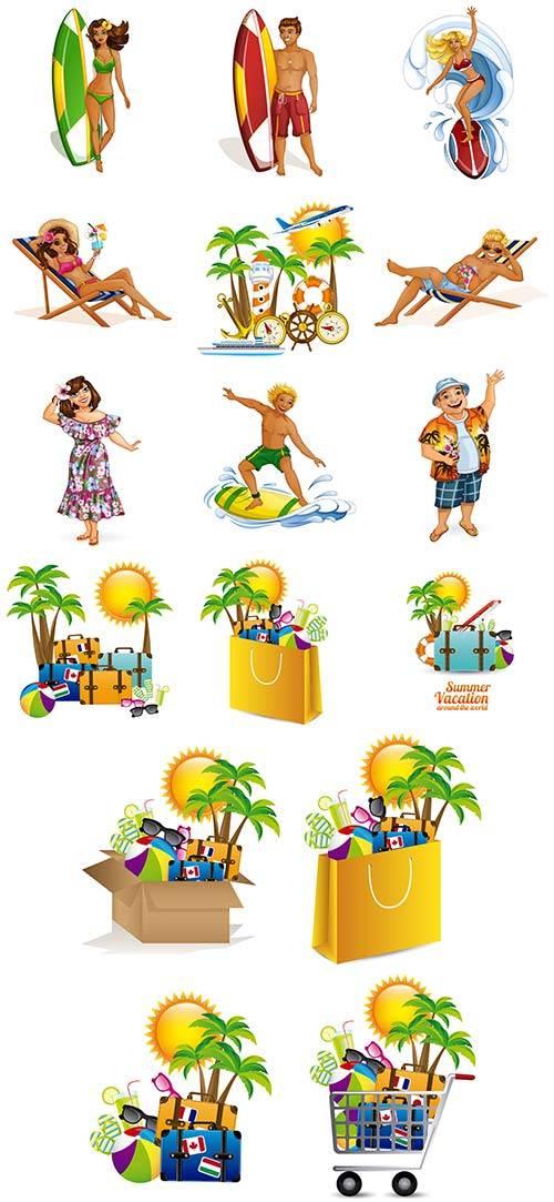 Здравствуй лето - 2 - Векторный клипарт / Hello summer - 2 - Vector Graphic ...