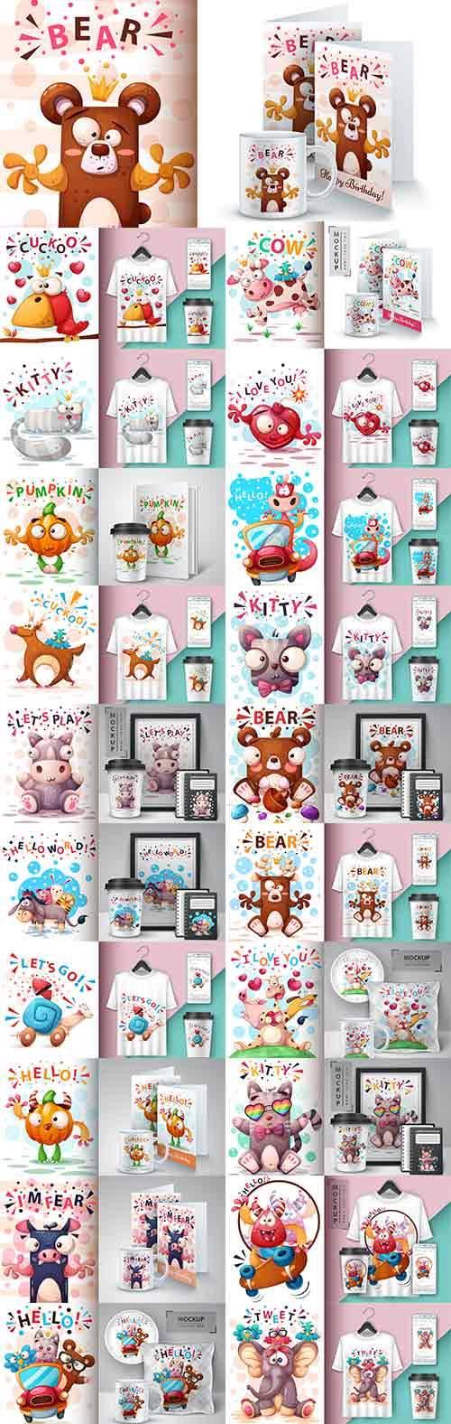 Фоны с забавными животными в векторе / Backgrounds with funny animals in ve ...