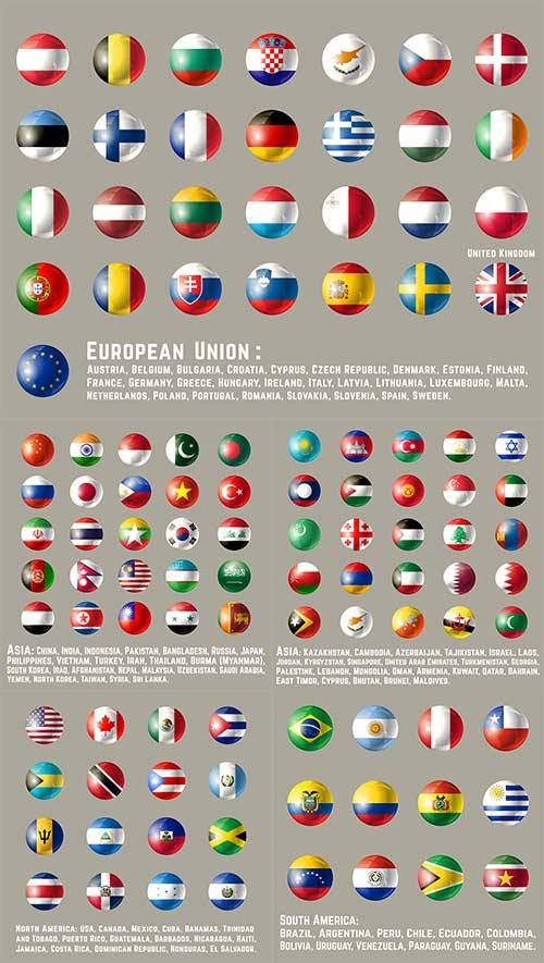 Иконки с флагами разных стран в векторе / Icons with flags of different cou ...