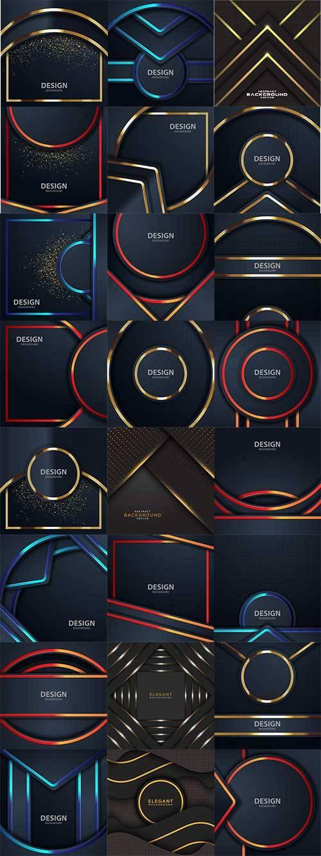Тёмные фоны с разноцветными линиями в векторе / Dark backgrounds with multi ...