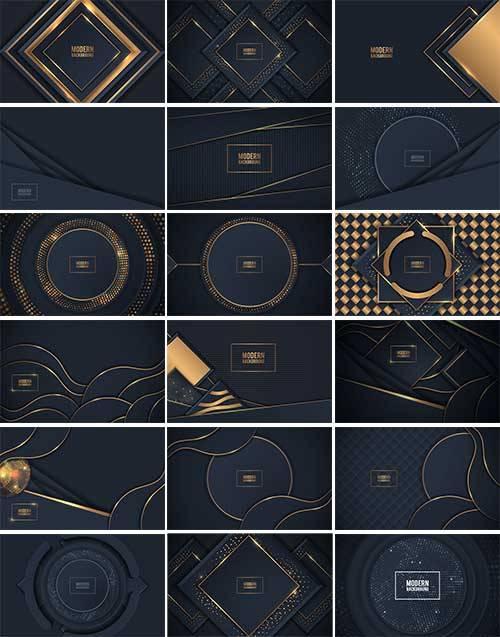 Красивые тёмные фоны - Векторный клипарт  / Beautiful dark backgrounds - Ve ...