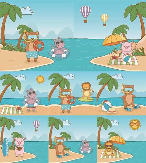 Летние каникулы зверей - Векторный клипарт / Summer holidays animals - Vect ...
