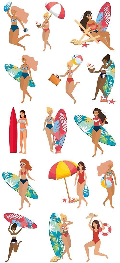 Девушки на пляже - Векторный клипарт / Girls on the beach - Vector Graphics