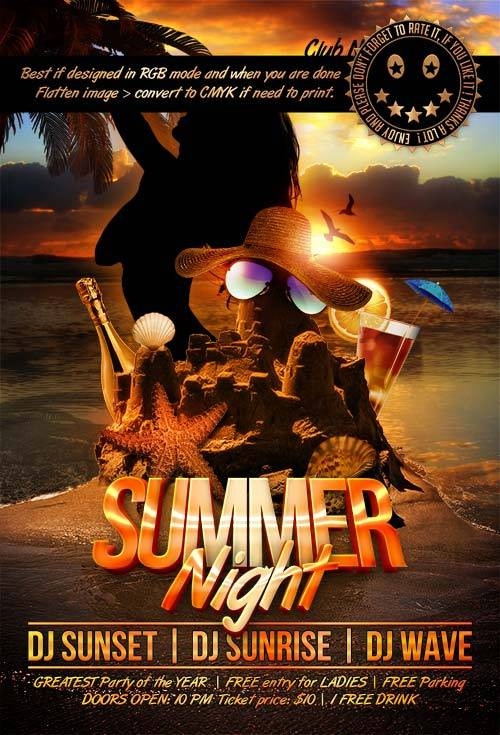 Summer Night psd flyer template