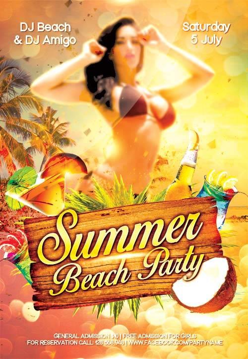 Summer Beach Party 3 psd flyer template