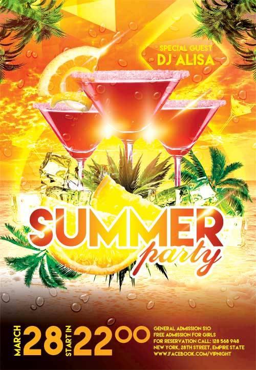 Summer Party 2 psd flyer template