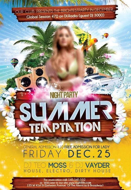 Summer Temptation psd flyer template
